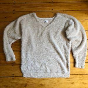Fuzzy Tan Lou & Grey Sweater